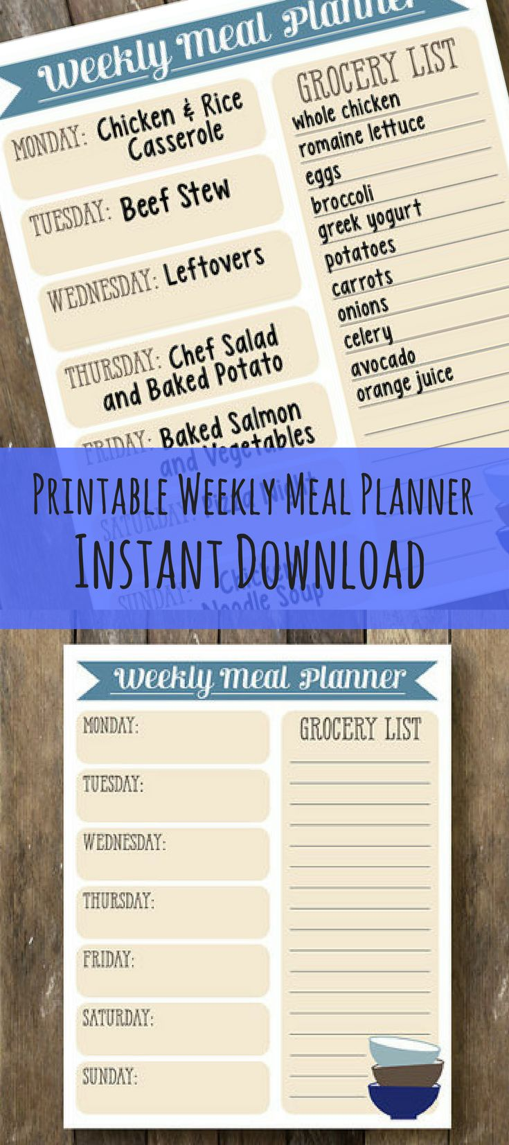 Printable Meal Planner - Weekly Meal Plan - Instant Download - Grocery List Printable - Weekly Meal Planner - Printable Grocery List  **This is an affiliate link.