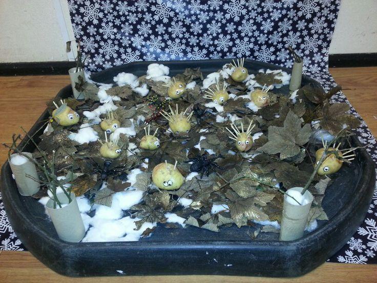 Hedgogs in autumn tuff tray