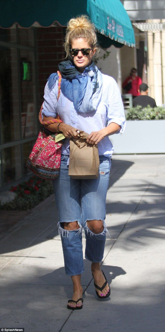 Laid-back style:Rachel Hunter, 46, was spotted showcasing an extremely casual ensemble as...