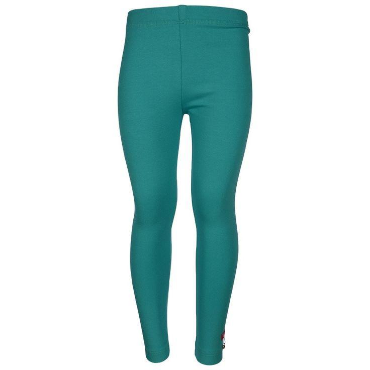 Kiezeltje - Legging / Aqua - Aqua blauwe legging van het kinderkleding merk Kiezeltje.  Elastische tailleband. Applicatie aan de linkerzijde. Driekwart legging. | https://www.onlinekinderkledingkopen.nl/merken/kiezeltje