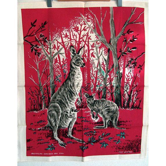 Vintage Tea Towel Kangaroos and Joey Australian by BessieAndMaive