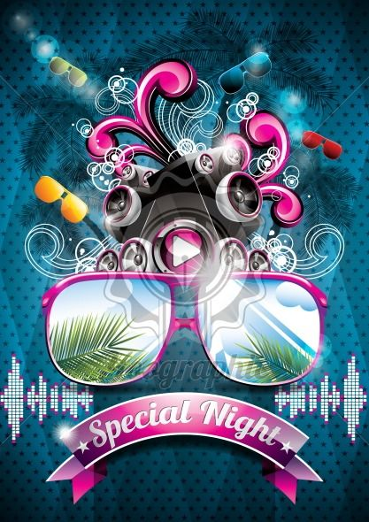 Vector Summer Beach Party Flyer Design with speakers - Royalty Free Vector Illustration