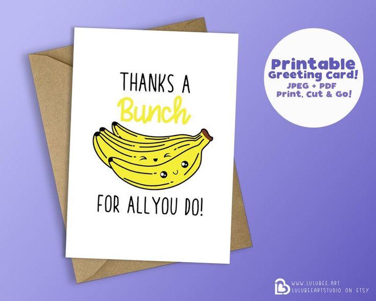 printable kawaii food thank you card banana fruit pun