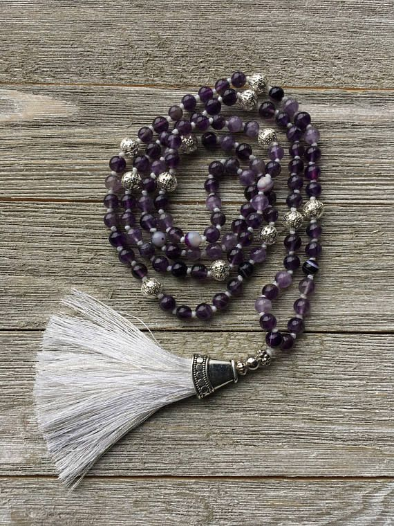 Hand Knotted Amethyst Mala Necklace 108 beads Mala