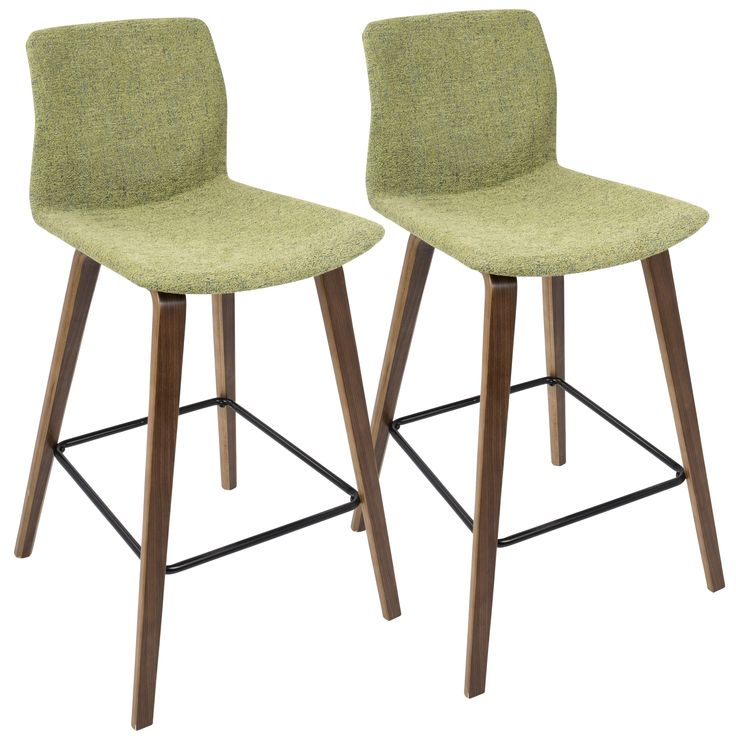 Cabo Mid-century Modern Counter Stool in Wood and Fabric (Set of 2) | Overstock.com Shopping - The Best Deals on Bar Stools