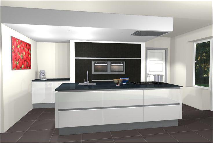 Ontwerp van keuken met kookeiland eiland keukens pinterest met and van - Idee schilderen ruimte ontwerp ...