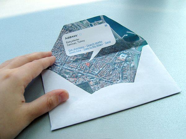 envelope made from Google map of return address: Wedding Cards, Google Maps, Wedding Ideas, World Maps, Maps Envelopes, Parties Invitations, Destinations Wedding, Snails Mail, Diy Wedding