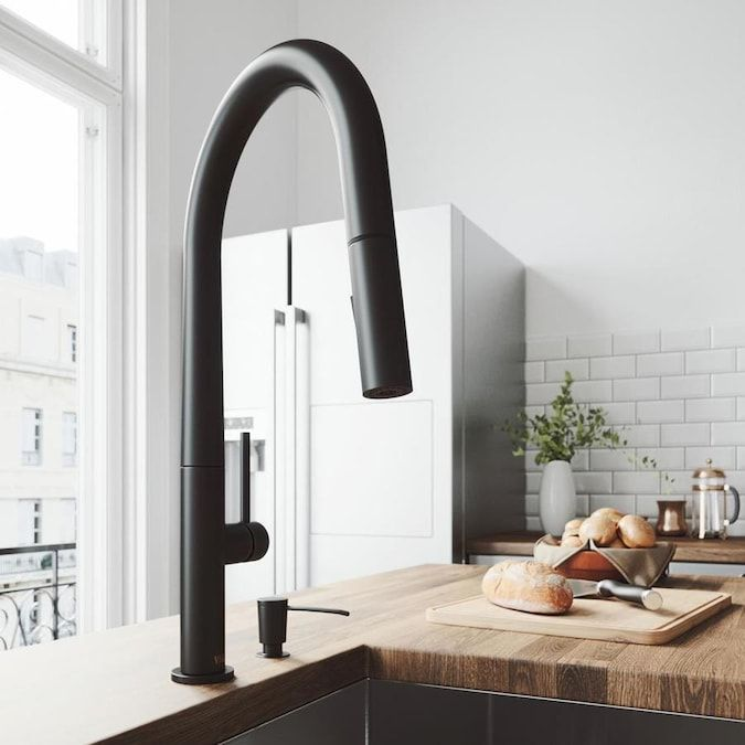 Vigo Greenwich Matte Black 1 Handle Deck Mount Pull Down Handle Lever Commercial Residential Kitchen Faucet Lowes Com Black Kitchen Faucets Single Handle Kitchen Faucet Kitchen Faucet