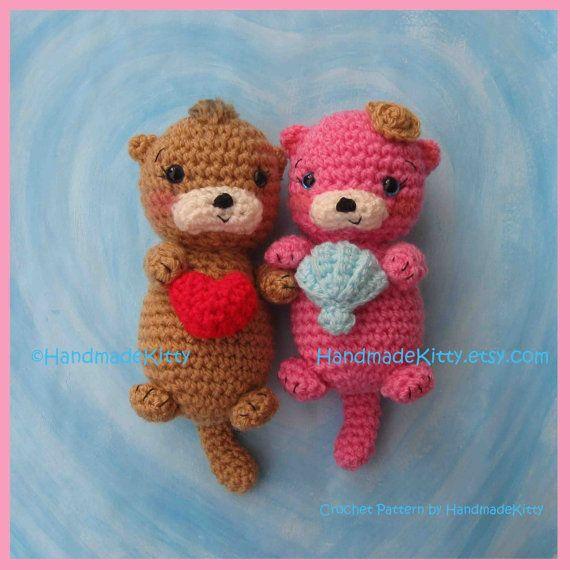 Otter Couple Floating in Love Amigurumi PDF Crochet Pattern by HandmadeKitty