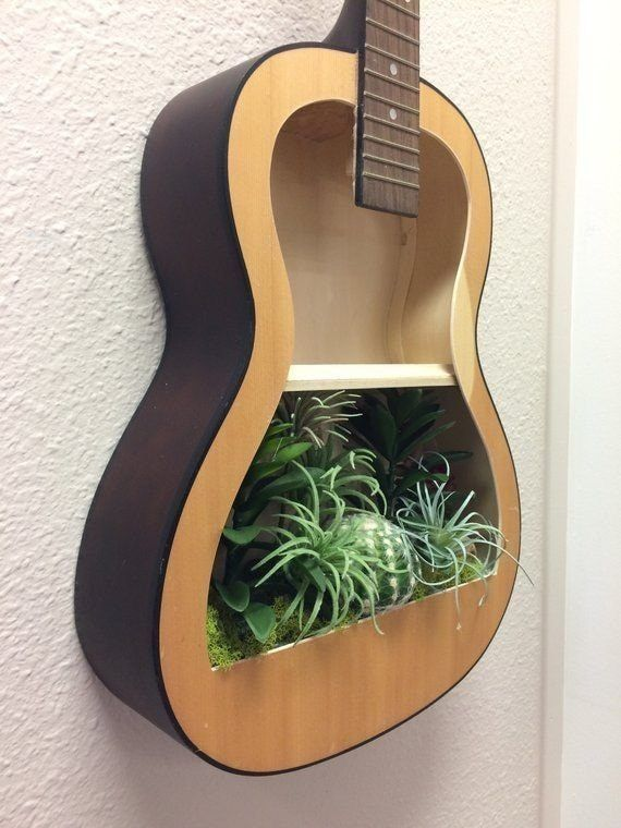 Magnificent Repurposed Guitar Ideas For The Ideal Home Decoration Trend Crafts Guitar Shelf Guitar Crafts Guitar Diy