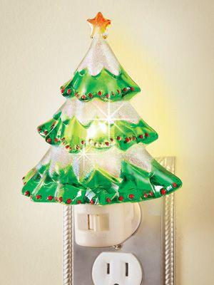 Snowy Christmas Tree Night Light