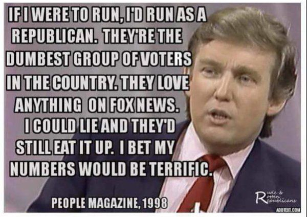 Donald Trump Comments in 1998// lmao that's how he won then<<< Oh look he still hasn't put on his fake as tan (probably the only reason I hate his appearance. Its disgusting.)