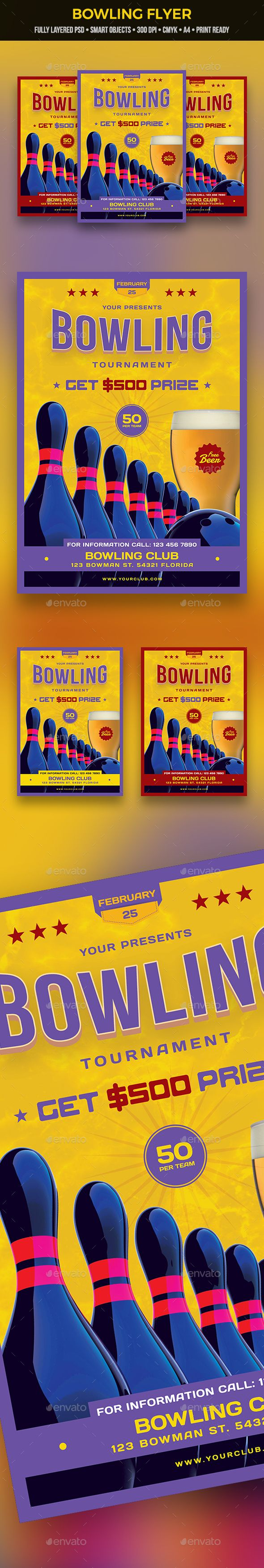 Bowling Flyer — Photoshop PSD #group #bowling championship • Download ➝ https://graphicriver.net/item/bowling-flyer/21164394?ref=pxcr