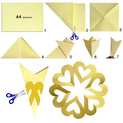 doblar el papel y cortar queda una estrella central y corazones alrededor