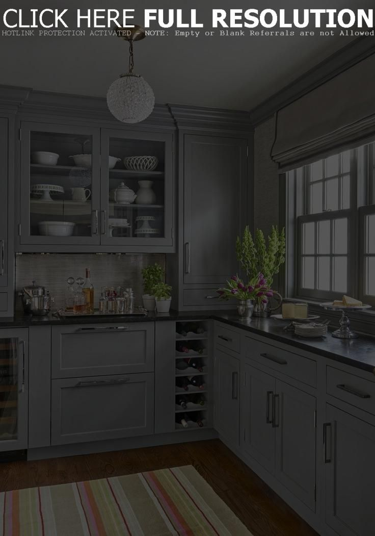 L Shaped Kitchen Cabinets Grey Painted Paired With Black Granite
