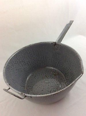 VTG Gray Enameled Graniteware Large 8 Quart Sauce Pot Rustic Cookware