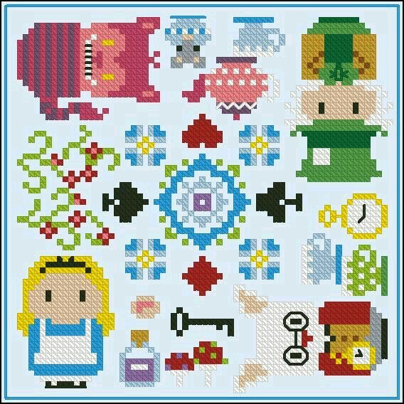 Disney Alice in Wonderland cross stitch.