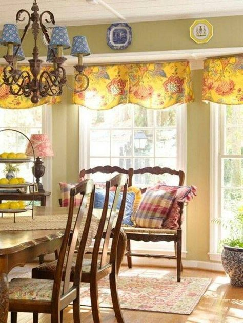 French Country Dining Room Ideas With Chandelier Blue Shades And Wooden Furniture Loveseat Floral Valance For The Windoe Decorative Plates