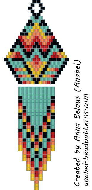 Схема индейских сережек - мозаичное плетение / Peyote earrings pattern