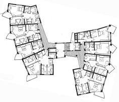 Planta tipa de Apartamentos Salute, por Hans Scharoun, en Stuttgart, Alemania, en 1961-1963