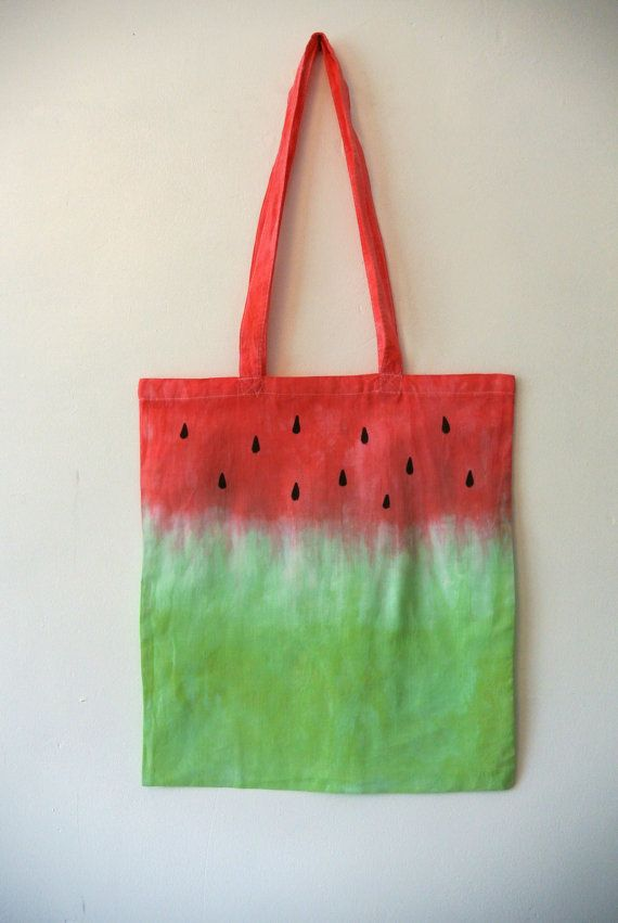 Watermelon Fruit Tie Dye Dip Dye Cotton Tote Bag Green