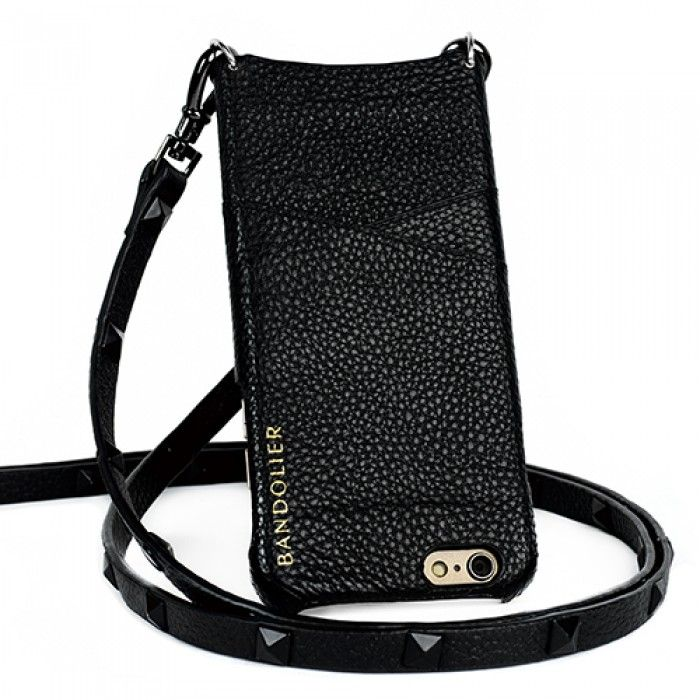 Sarah Black Leather & Gold iPhone Accessory Case Strap | Bandolier - Phone case with a strap