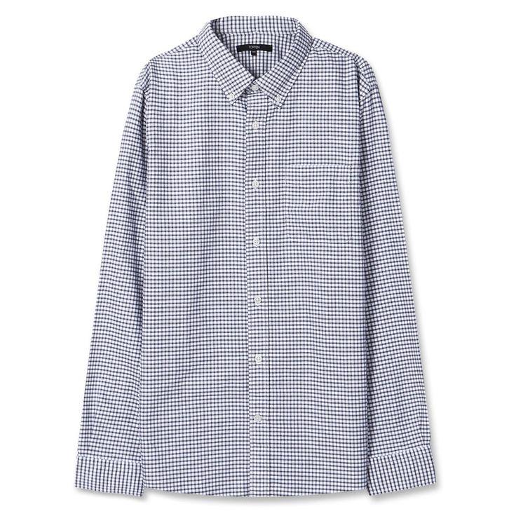 Topten10 Unisex Oxford Buttondown Black Check Pattern Formal Cotton Dress Shirts #Topten10