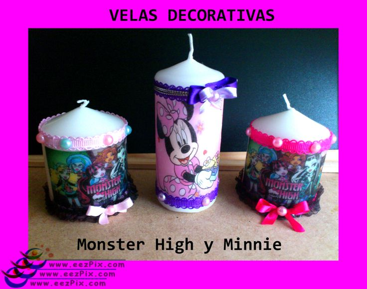 VELAS DECORATIVAS MONSTER HIGH Y MINNIE