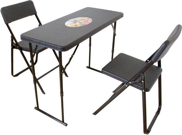 Klapptisch Mit 2 Stuhlen Rattan Optik Balkon Set Mit Bildern Tisch Hohenverstellbar Stuhle Klapptisch