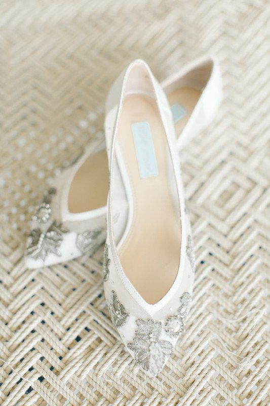 Flats for wedding - white flats for bride with crystal embellishment {Beautiful Bride Events}