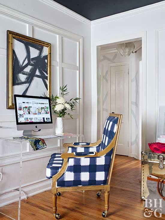 glam sitting area with blue accents