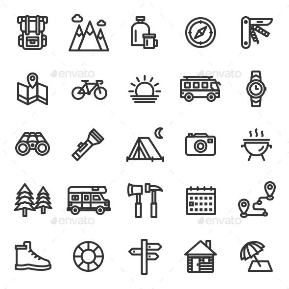 Camping Icon Set Camping Icons Icon Set Compass Icon