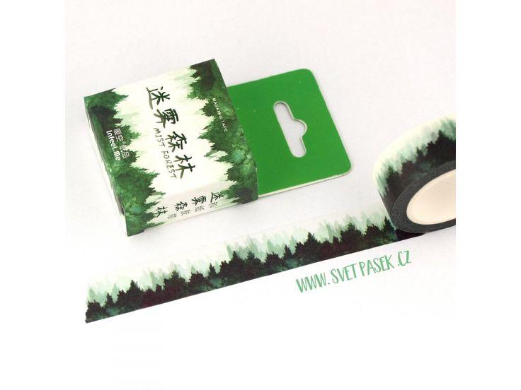 """Washi páska """"Les"""" (PW15D07M0044) . Rozměr: 1,5cm x 7m"""
