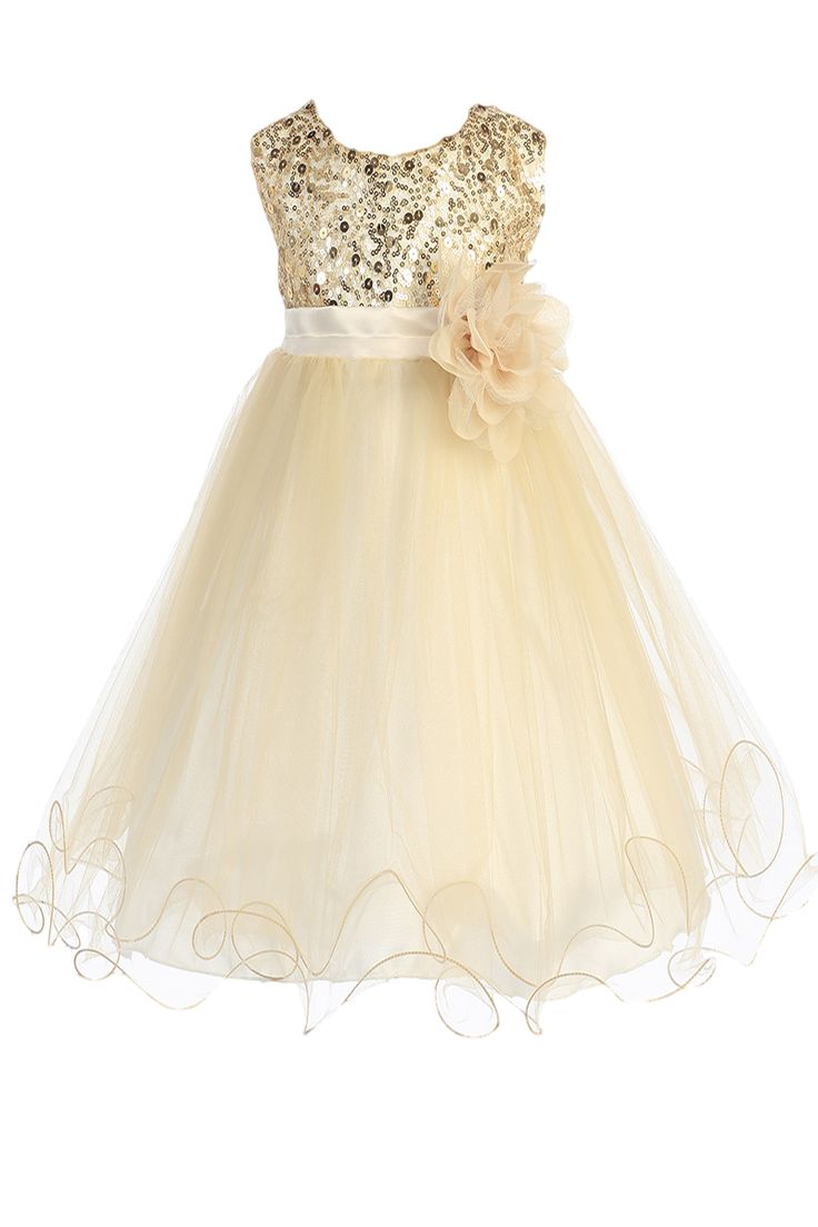 Gold Sequins, Satin & 2 Layer Mesh Overlay Dress with Double Ruffle Hem (Baby Girls Sizes)