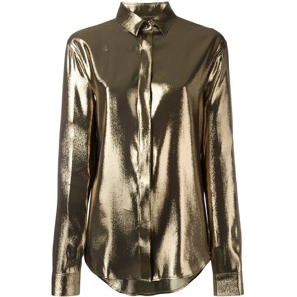 Saint Laurent Metallic Meteorite Shirt ($1,390) ❤ liked on Polyvore featuring tops, shirts, clothing /, kirna zabete, collared shirt, yves saint laurent shirt, placket shirt, shirt top and long sleeve collar shirt