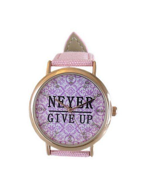 Ceas Dama Crystal Blue cu Mesaj - Never Give Up!