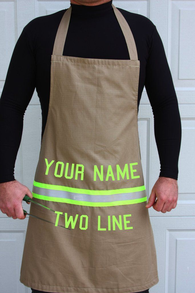 Personalized firefighter apron w/lettering of your choice two lines looks like turnout bunker gear