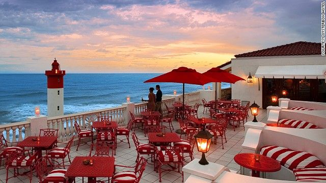 With panoramic views of the Indian Ocean along Umhlanga Beach, The Lighthouse Bar at The Oyster Box hotel in Durban,