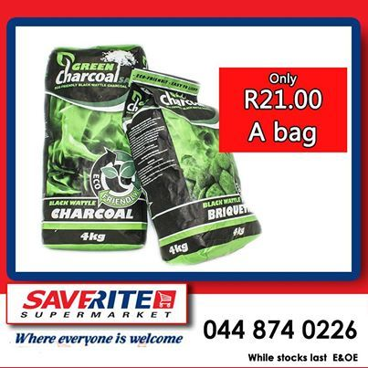 It might be too cold to have a braai, but our Green Charcoal makes the ideal fireplace fuel for cold winter nights. Selling at only R21.00 from Saverite Supermarket York Street. #winterwarmer #supermarket #shoppingessentials