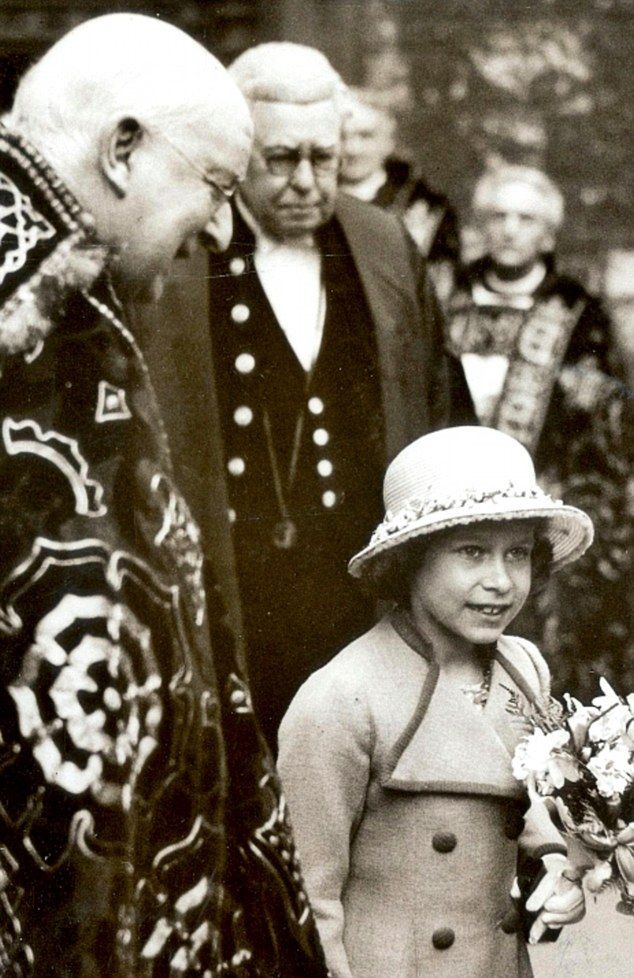 Eighty years ago: The then Princess Elizabeth was pictured in Westminster Abbey at the ser...