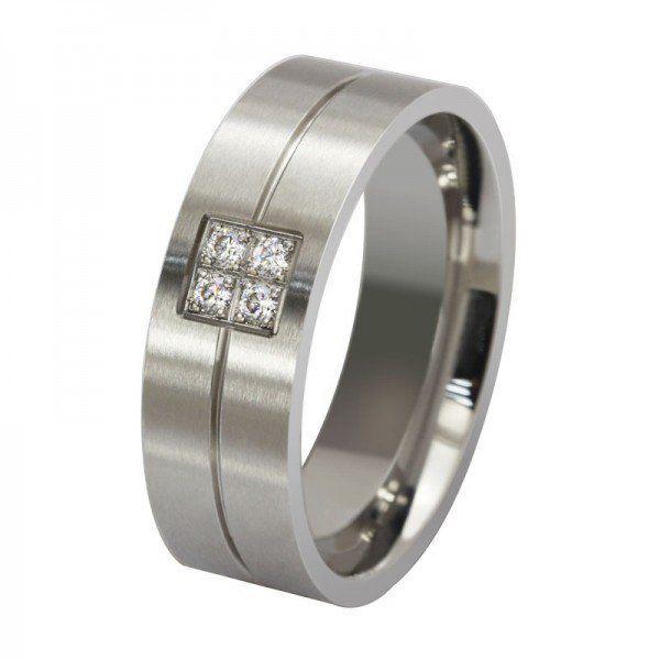 Jeulia Simple Design Round Cut Created White Sapphire Silver Titanium Steel Mens Wedding Ring