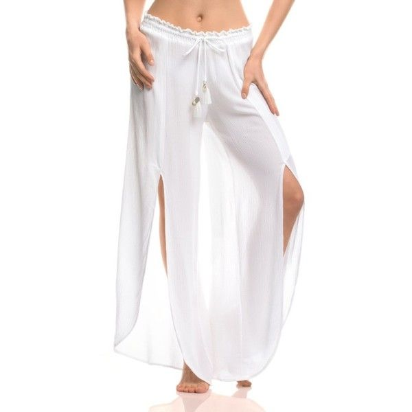 Women's Isabella Rose What A Catch Cover-Up Pants ($80) ❤ liked on Polyvore featuring swimwear, cover-ups, white, white beach cover up, white swim cover up, cover up swimwear, white cover up and white cover up swimwear
