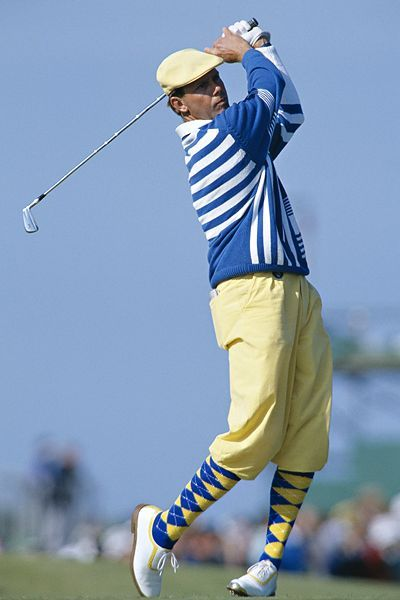 "Payne Stewart - (1957 - 1999) was a great golfer and had a unique style of dress - He was a favorite of fans and photographers because of his ivy caps and patterned pants, which were a cross between plus fours and knickerbockers, a throwback to the once-commonplace golf ""uniform."" - His untimely death at 42 occurred in a plane crash. Payne had a classic style all his own but admired by many.  Rest in Peace!"