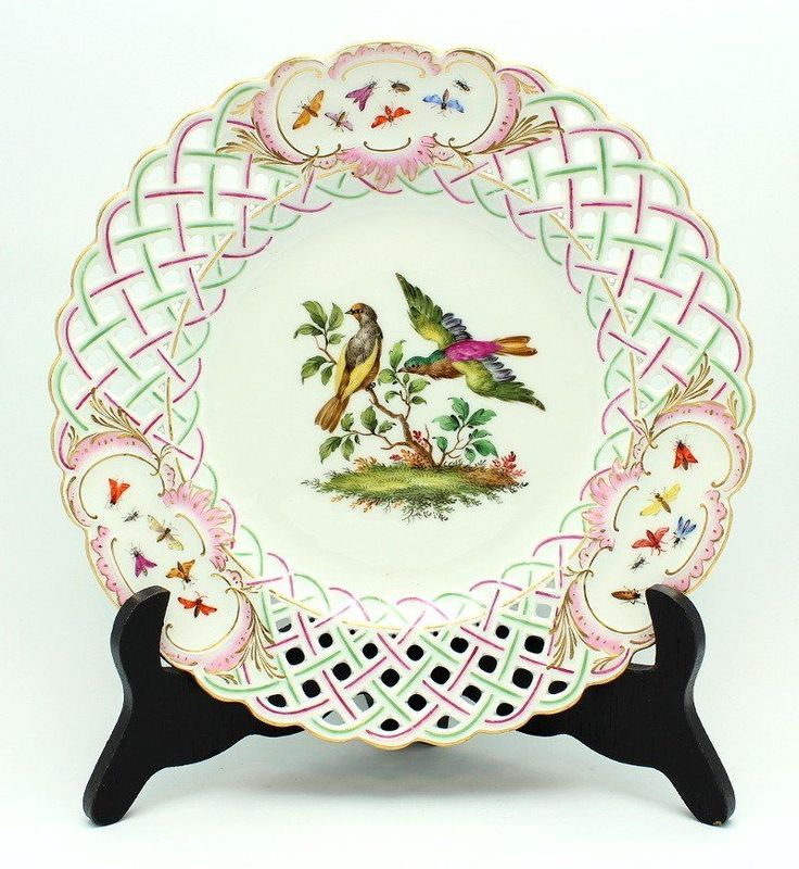 FINE ANTIQUE 19TH C. GERMAN MEISSEN RETICULATED BIRD \u0026 INSECT CABINET PLATE & 147 best Porcelain Painting : Bird images on Pinterest | Porcelain ...