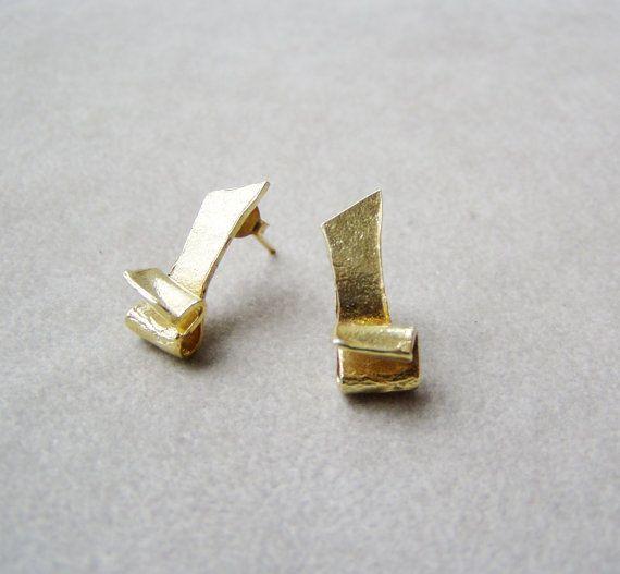 Ruffled stud earrings gold plated sterling earrings by ArktosArt, $26.50