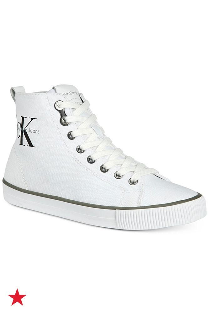 Calvin Klein Jeans is bringing back the classic high-top sneaker with this new logo style. Wear them with denim shorts for a street-chic look this summer. Click to shop at Macy's.