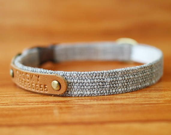 Rocky Grey Personalized Cat Collar in Two-Tone Color  Chelsea grey