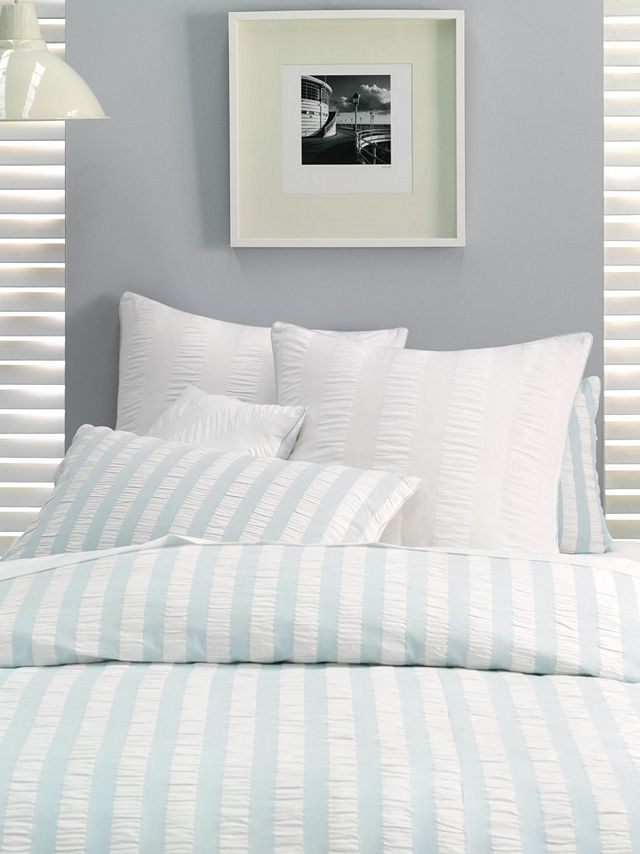 Ashton Blue Range of duvet cover sets, pillow cases and cushions – 100% cotton, yarn dyed seersucker.  Available in the following sizes:  Three-quarter  Double  Queen  King  Super King  Continental Pillow  Scatter Cushion