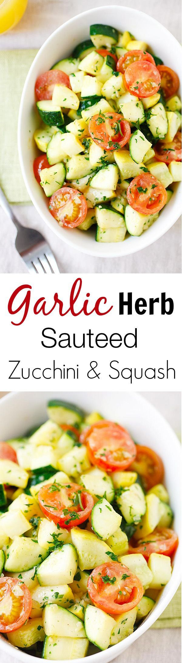 Garlic Herb Sauteed Zucchini and Squash - the healthiest and freshest side dish EVER with zucchini and squash, sauteed with garlic herb butter | rasamalaysia.com