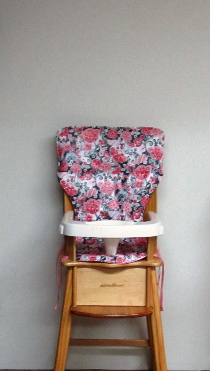 high chair cover, baby accessory, Eddie Bauer wooden high chair, feeding chair, replacement high chair pad, sparkling rose, baby, child care by SewingsillySister on Etsy